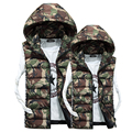 Men and Women New Winter Camouflage Cotton Down Vest Thickened Waistcoat Colorful Hooded Vest