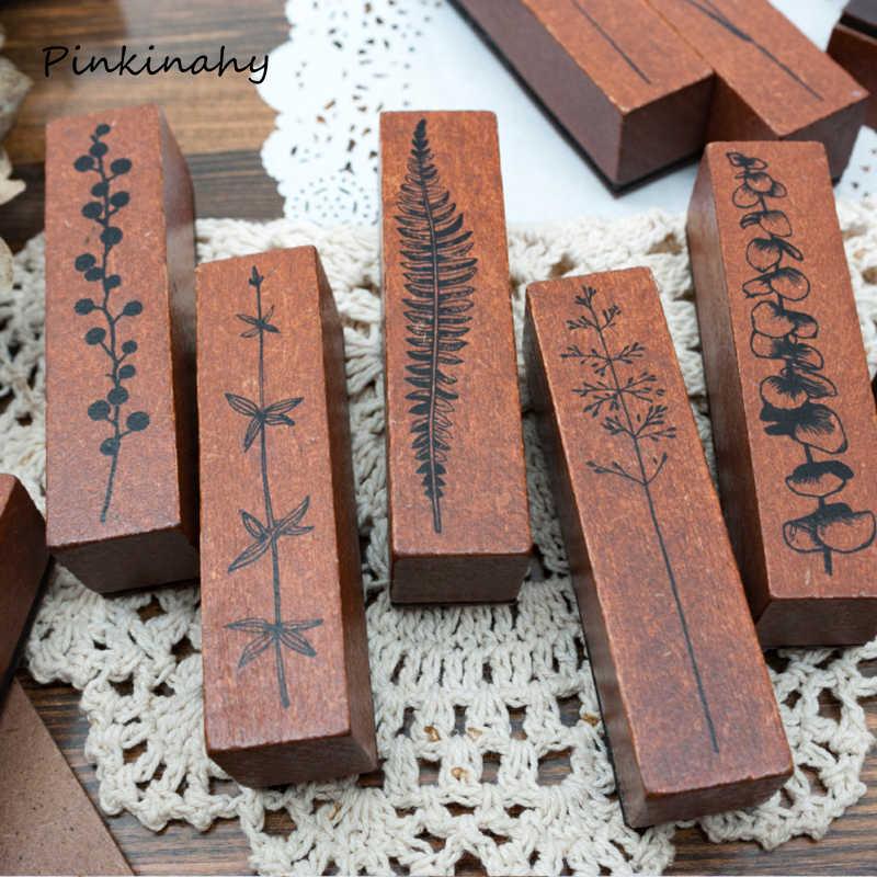 Retro Tanaman Bunga Babch Dekorasi Stamp DIY Kayu Stempel untuk Scrapbooking Alat Tulis Scrapbooking Standar Stamp