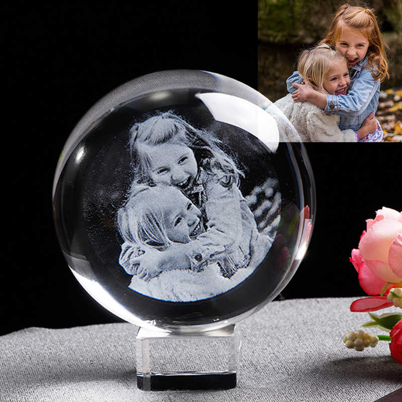 Personalized Glass Photo Frame Ball Custom Crystal Globe Laser Engraved Wedding Photo Frame Souvenir