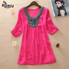 Ruoru Large Size Beading Embroidery Tops Loose Linen Summer Women Blouse Tunic Blusas Feminina Shirt Plus Size Women Clothing недорого