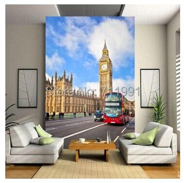 13 47 51 De Réduction Livraison Gratuite Moderne 3 D Papier Peint Personnalisé Peintures Murales Ou Anglais Rouge Londres Bus Grand Ben Porche