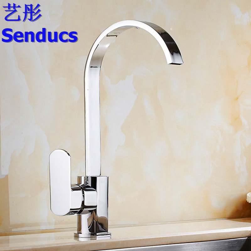 Free shipping Senducs solid brass kitchen faucet with polished chrome kitchen sink faucet by single handle