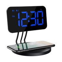 Alarm Clock 6 level Brightness Dual alarm 3 Ringtones 2 level Increasing Volume with Wireless Charger for All Qi Enabled Phones