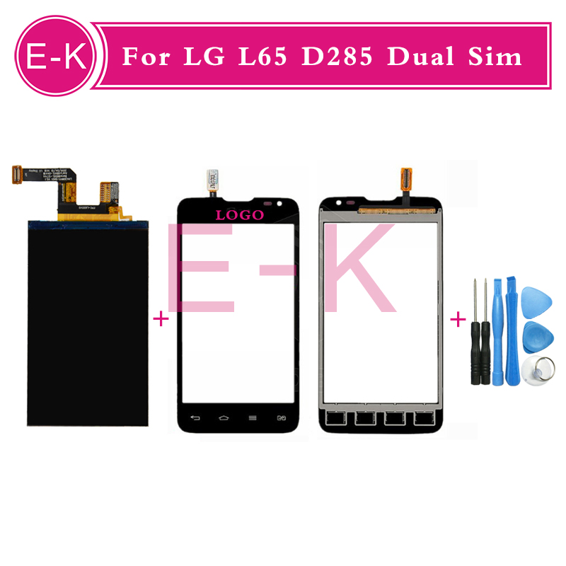 4.3 Original For LG L65 D285 Dual Sim Touch Screen Digitizer Sensor Glass + Lcd display Black White +Tools Free shipping