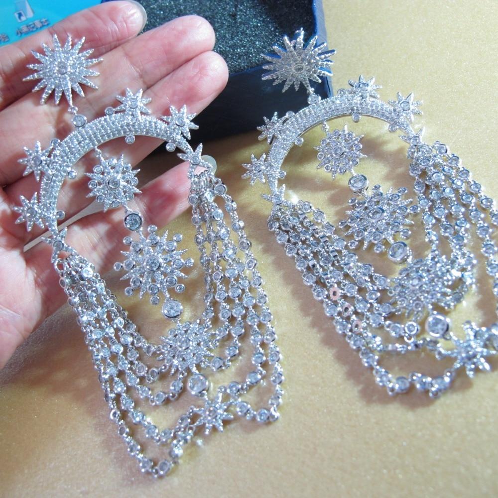 Nuevo oro blanco de color Partido de joyería Zirconia borla larga cuelgan los pendientes para las mujeres-in Pendientes de gotas from Joyería y accesorios    1