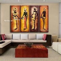 Large size oil painting Hand Painted abstract Figure Oil Painting on Canvas Home Decor Wall Art African Pictures for living room