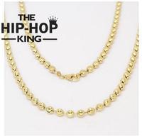 925 de Plata de ley Con Acabado de Oro Con Cuentas Luna Cut Cadena 4mm Collar Señoras del Mens