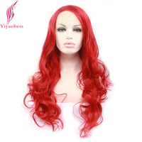 Yiyaobess Red Lace Front Wigs For Women Heat Resistant Synthetic Glueless Brazilian Long Curly Party Wig