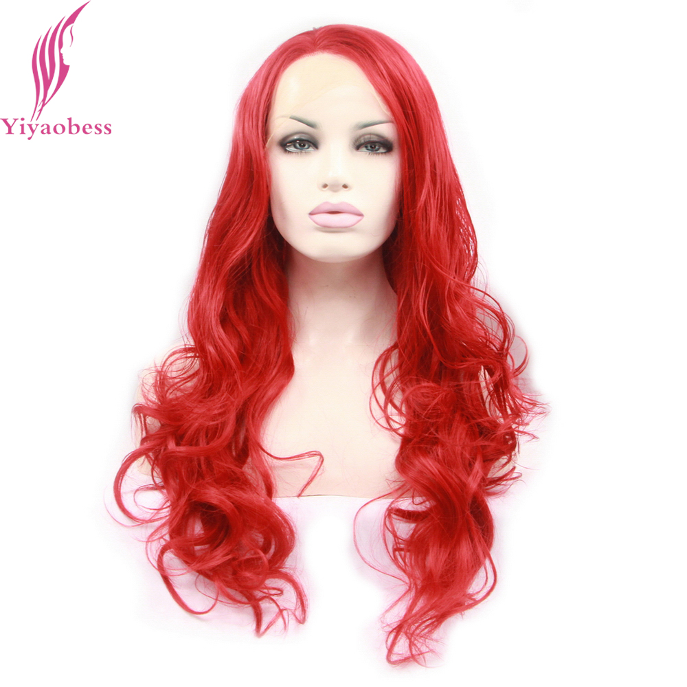 Yiyaobess Red Lace Front Wigs For Women Heat Resistant Synthetic Glueless Long Curly Par ...