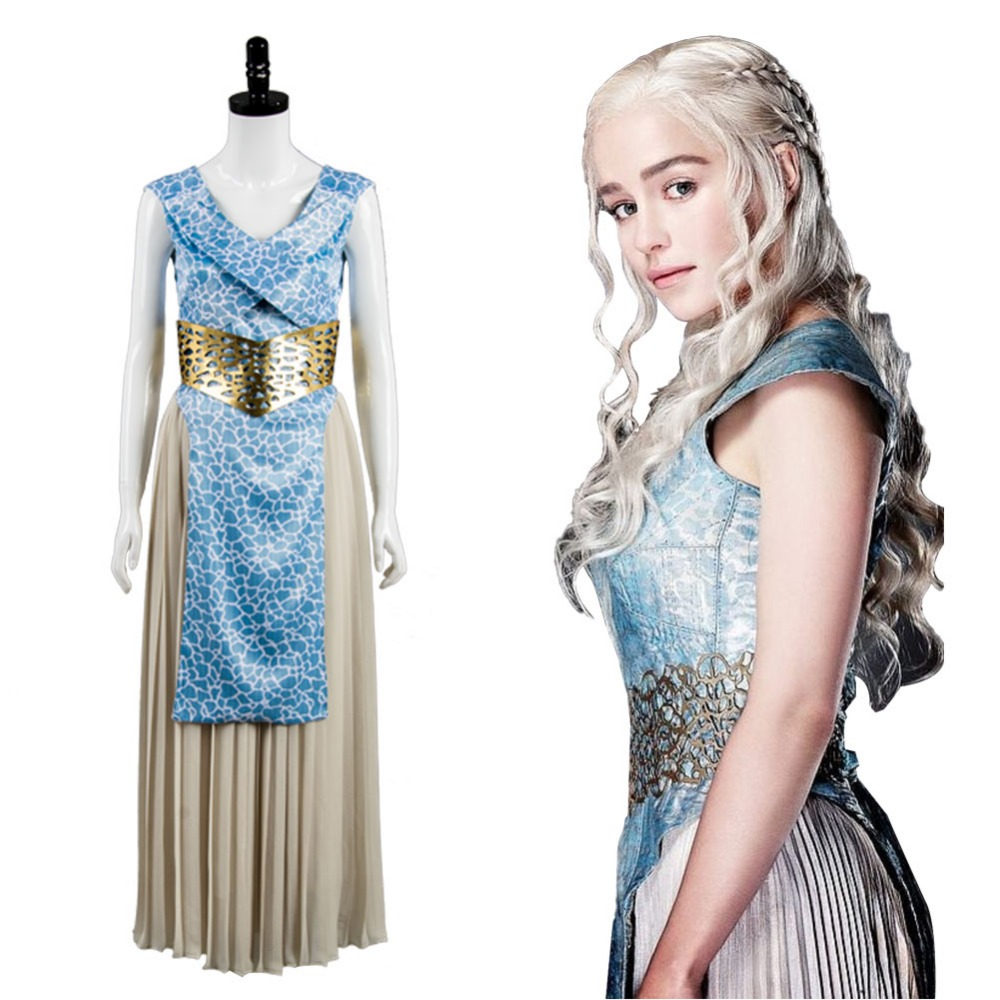 GOT Game of Thrones Daenerys Targaryen Dany Dress Cosplay Costume Halloween Carnival Costumes For Adult Women Full Set