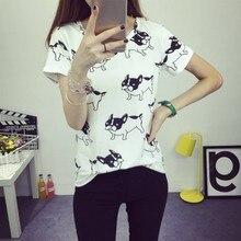 Women Cute Dog Printed Tee Shirt