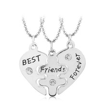 KYSZDL Lovers' Collier Bff Statement Necklace 3 pcs Best Friends Forever Necklaces Colar Friendship Heart Charm Pendent Gift for