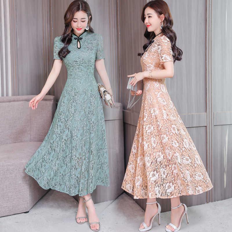 2019 элегантное женское платье миди шикарные вечерние макси платья Винтаж Длинные Vestidos Лето облегающее открытое кружевное сексуальное платье плюс размер