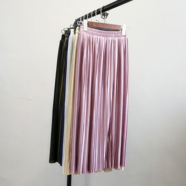 FreeShipping 2017 High Quality Clothing Wholesale New Pleate Skirt 6 Color Crushed In The Long Skirts Sexy Pressure Satin Fabric