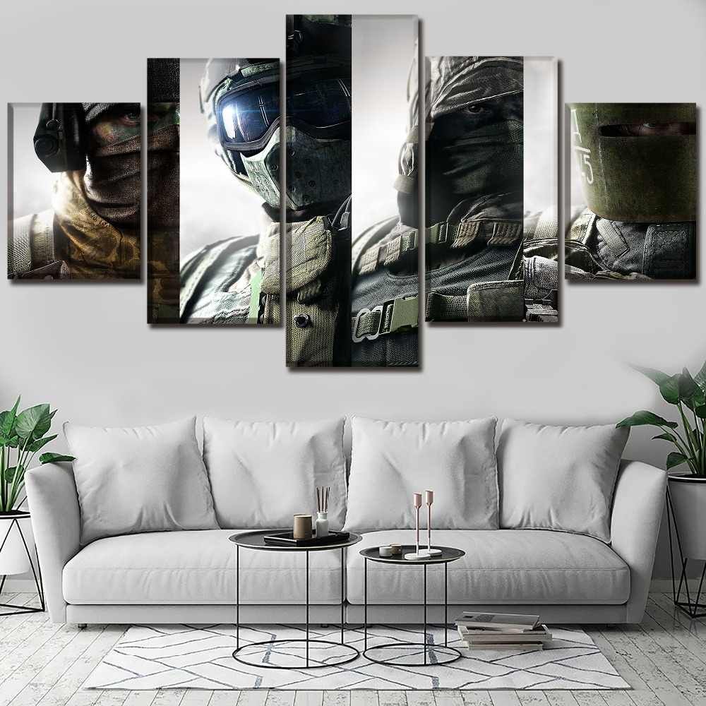 Wall Art Poster Modern Canvas Print 5 Pieces Game Tom Clancy's Rainbow Six  Siege Painting Decor Living Room Framework Picture