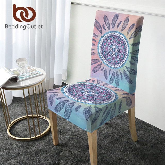 BeddingOutlet Mandala Chair Covers Bohemian Removable Spandex Elastic Slipcover Pink Blue Seat Case Cover for Weddings Banquet