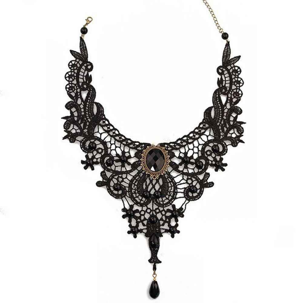 1PC Mulheres Black Lace & Beads Gargantilha Vitoriana Steampunk Estilo Gótico Colar Colar de Presente