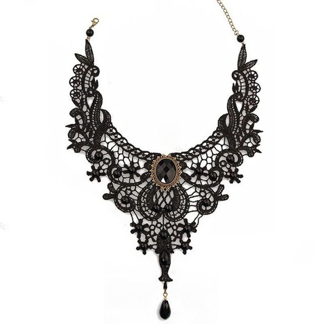 1PC Women Black Lace& Beads Choker Victorian Steampunk Style Gothic Collar Necklace Gift