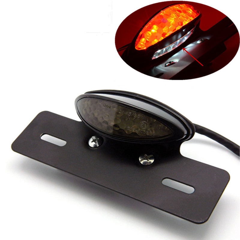 Motorcycle LED Brake Rear Tail Lights Turn Signal Light+License Plate Bracket For Harley Honda Yamaha Suzuki Kawasaki Cafe Racer 12v led universal motorcycle tail brake light license plate lamp rear stop lamp for harley davidson for honda for suzuki