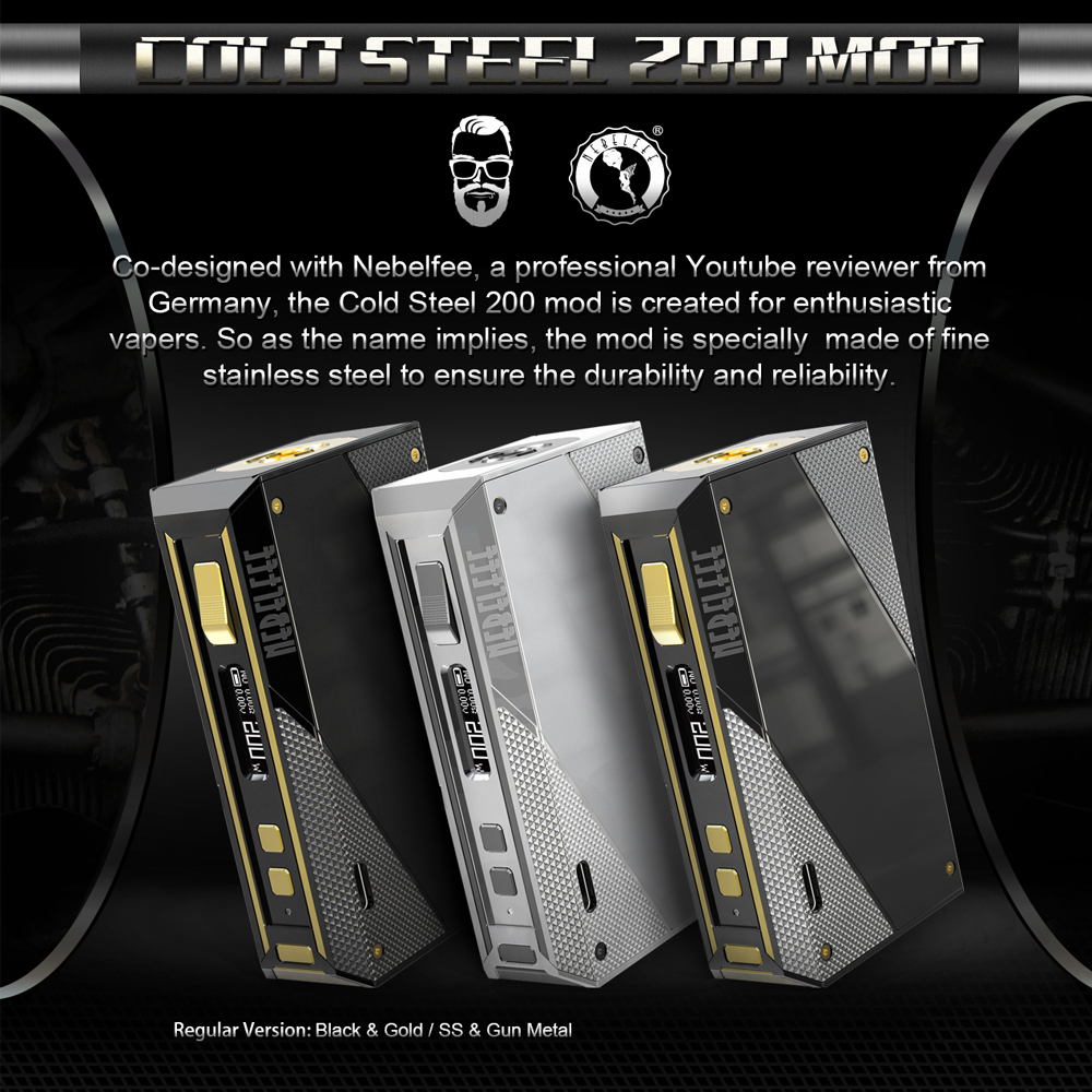 EHPRO acier froid 200 W boîte Mod Vape Cigarette électronique avec écran d'affichage batterie externe 18650 acier inoxydable TC mods Ecig - 2