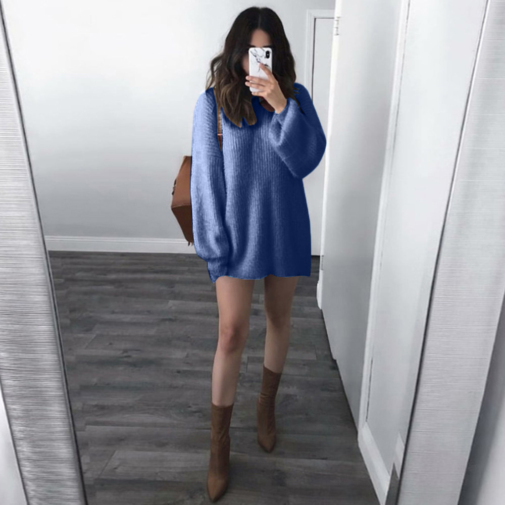 Women Sweater Solid plus size O-Neck Loose Knitted Pullovers Warm Long Latern Sleeve Blouse loose clothes Casual Winter top F80