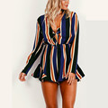 Fashion Spring sexy bow striped women jumpsuit romper Summer style long sleeve party overalls Fashion club playsuits leotard