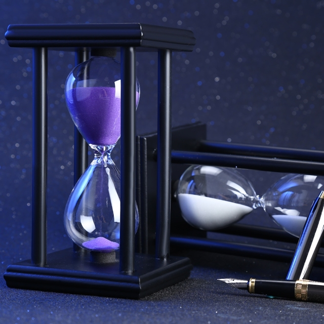 60 Minutes 8.06 inch Colorful Hourglass Sandglass Sand Clock Timers Wooden Frame Creative Gift Modern Home Decorations Ornaments