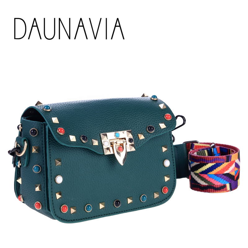 DAUNAVIA High Quality PU Women Crossbody Bags Fashion Rivet Design Women Shoulder Bags Color Shoulder Strap Ladies Handbags 2018