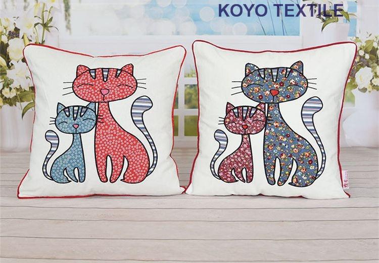 Embroidered Decorative Cotton Applique Cartoon Sweetheart lover Cat Kitt Animal Gift Sofa Car Cushion Cover Throw Pillow Cover