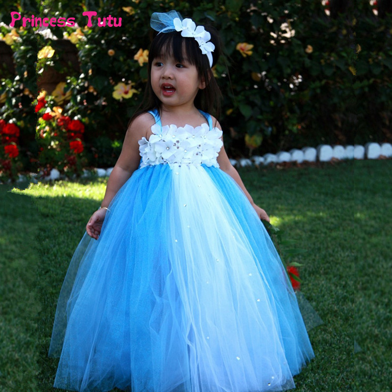купить Princess Tutu Dress Girls Tulle Flower Girl Dresses Kids Party Pageant Wedding Dress Cute Ball Gowns for Children Robe Enfant дешево