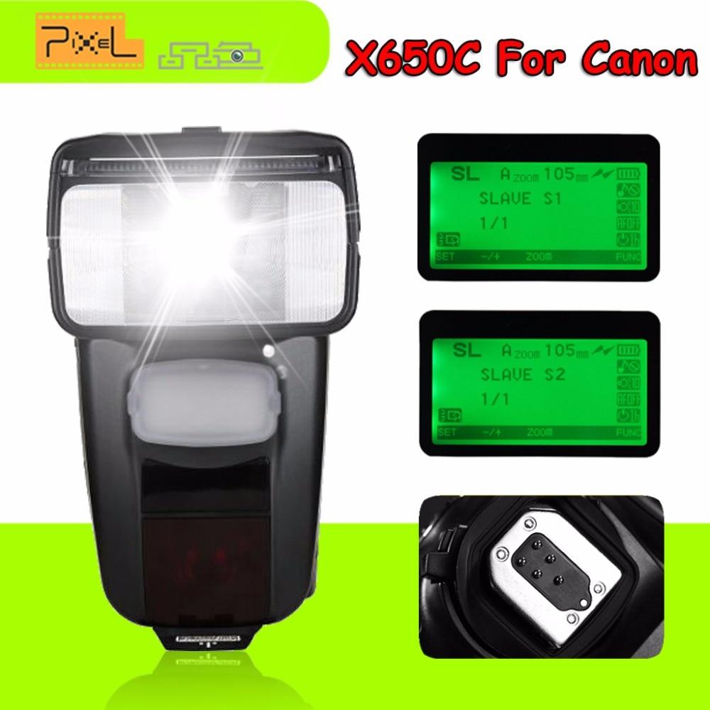 Pixel X650C GN65 Wireless TTL HSS LCD Flash Speedlite For Canon 70d 650d 6d 1100d 600d 7d mark ii 5d VS YONGNUO YN560III YN560IV yn e3 rt ttl radio trigger speedlite transmitter as st e3 rt for canon 600ex rt new arrival