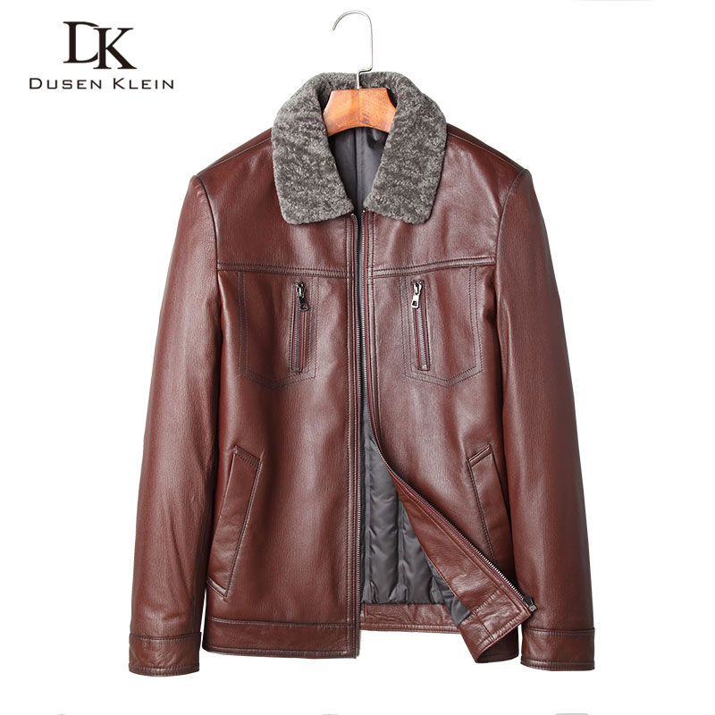 Dusen Klein Genuine Leather Down coats men Luxury sheepskin duck down Slim/Business wool collar winter leather jacket 71J7856Y