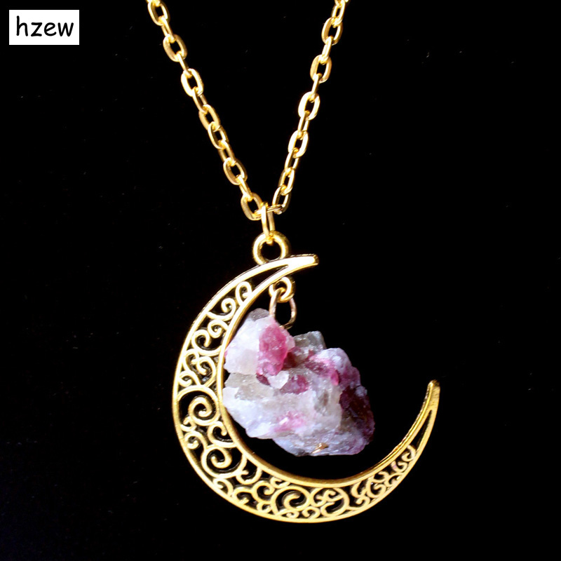 2015 Sailor Moon Necklace Sun And Moon Jewelry 60cm  gold  Natural Stone Crystal Amethyst Tourmaline Necklace Pendant For Women