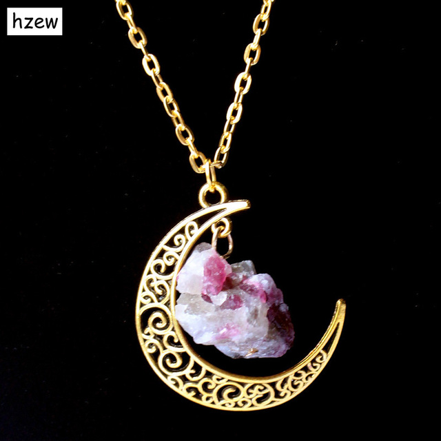 hzew Sailor Moon Necklace Sun And Moon Jewelry  gold  Natural Stone Crystal Tourmaline Necklace Pendant For Women