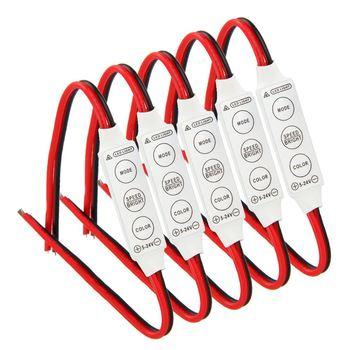5x12V kontrola przewodowa moduł z światło stroboskopowe do samochodu lub gospodarstwa domowego taśmy LED żarówki Drop Shipping tanie i dobre opinie REFURBISHHOUSE CN (pochodzenie) single color mini 3 keys led dimmer 12v 10m ONCE Kontroler RGB Common Anode 5-24 v plastic