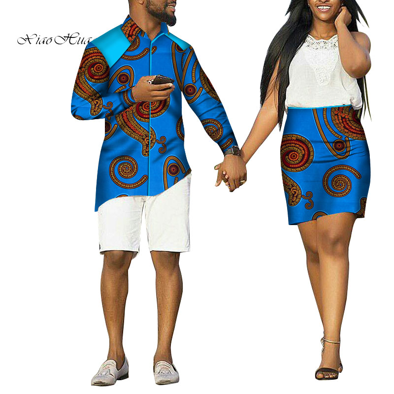 Sweet Lovers African Couple Clothes Gift Valentine' Day Long Sleeve Mens Shirt Coat and Women Skirt Causal Set Plus Size WYQ190