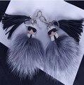 Новый Двойной сталкиваются Монстр карл лица очки логотип Парижская неделя Моды горячих сумки аксессуары кисточкой Karlito лисий мех помпоном брелок