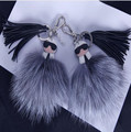New Double face Monster karl face glasses logo Paris Fashion week hottest bag accessories tassel Karlito fox fur pompom keychain
