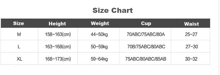 Size table for rash guard