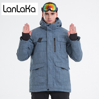 LANLAKA 2018 New Brand Ski Jacket Men High-Quality Winter Waterproof Coat Warm Snowboarding jackets Cowboy-Blue Ski Jackets Male цены онлайн