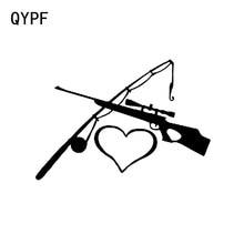 Qypf 16.3*11.2 cm amor pesca e caça decoração adesivos de carro vinil C16-1812