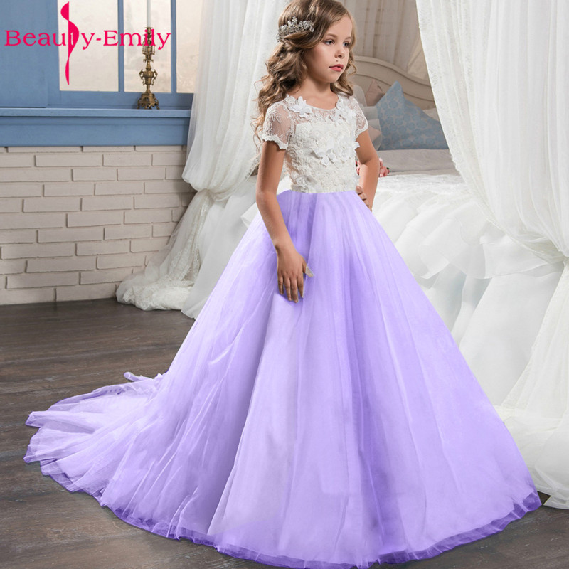 Beauty Emily Charming Lace   Flower     Girl     Dresses   for Weddings 2019 New Arrival O Neck Short Sleeve Ball Gown Communion   Dresses