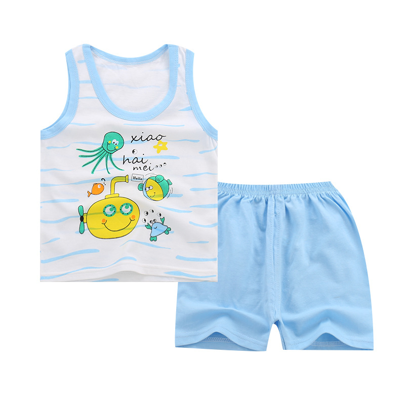 Children 39 s vest set 2019 summer cotton boys and girls sleeveless vest shorts set body suit baby clothes kids clothing set in Clothing Sets from Mother amp Kids