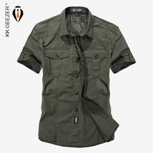 Cotton Casual Shirts Men Short Sleeve Loose Army Military Tooling Pockets Breathable High Quality Dress Shirt Big 4XL