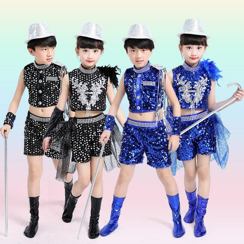 4af8eab43aac Girls Sequined Jazz Dance wear dress Kids Party Hip Hop Ballroom ...
