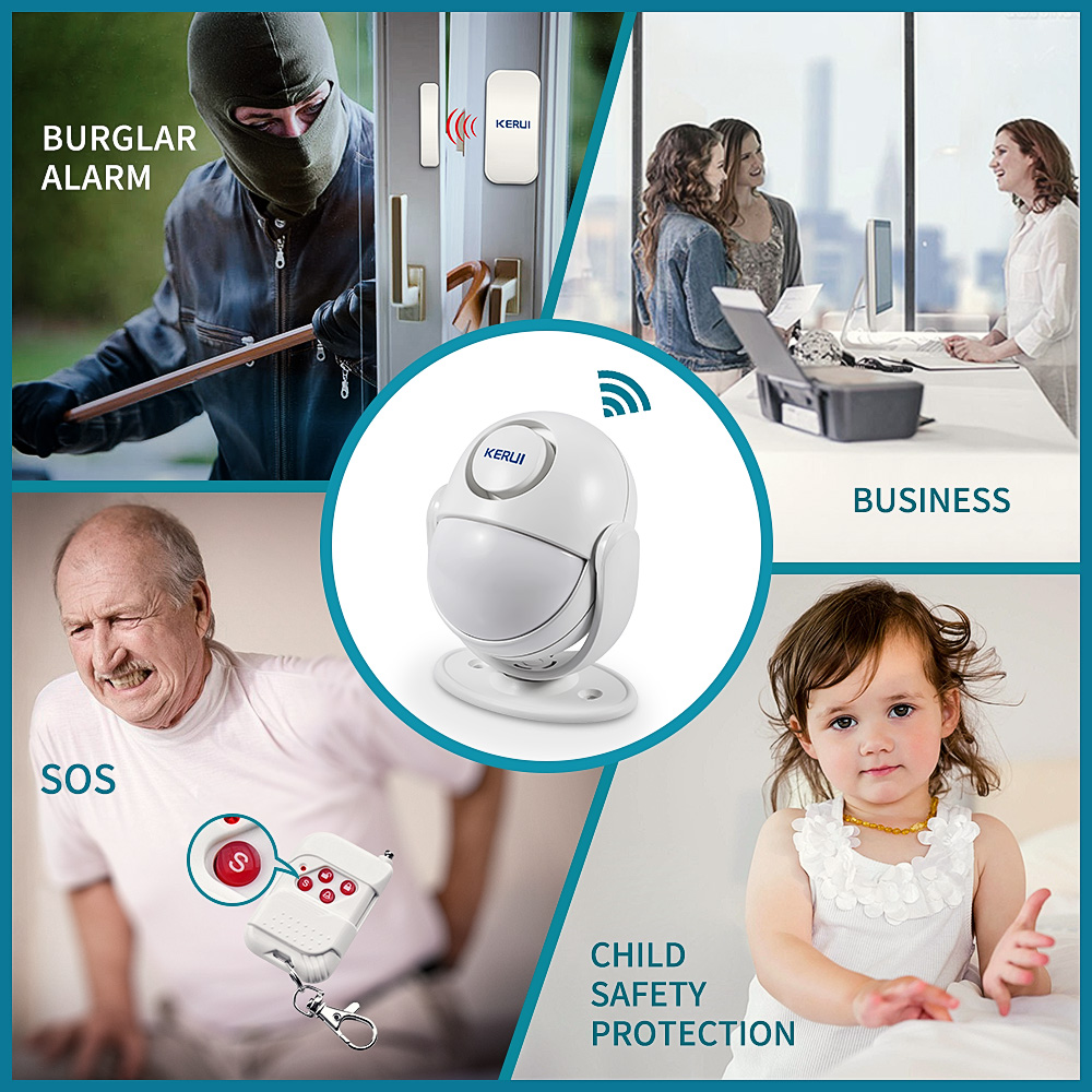Image 5 - KERUI 125dB WP6 PIR Motion Alarm Door Bell Home Security APP Control Burglar Sensor Detector Welcome Doorbell SOS Alarm Systems-in Alarm System Kits from Security & Protection