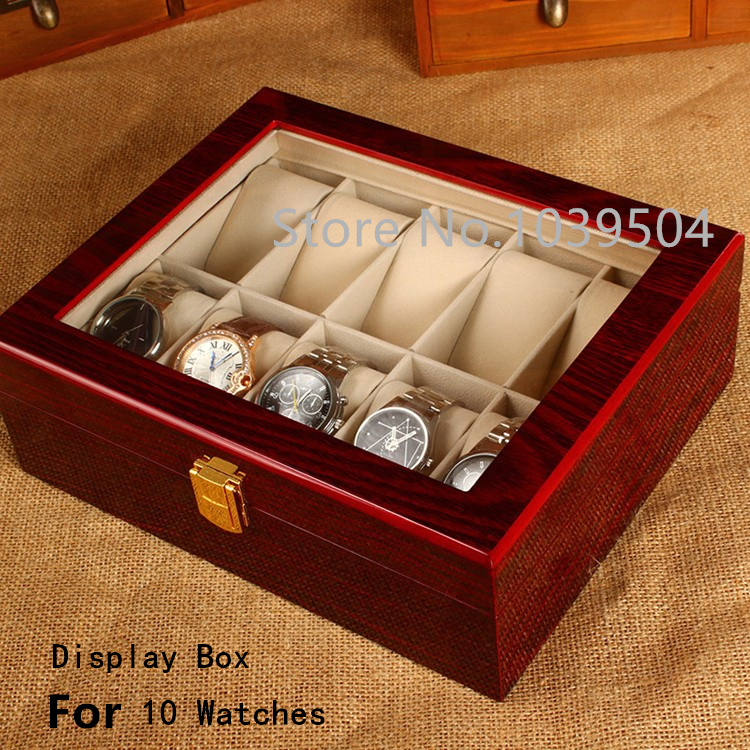 ФОТО Free Shipping 10 Grids Watches Box Top Red Piano Paint MDF Storage BoxTransparent Skylight Brand Watch Storage Boxes Case W031