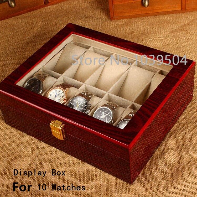 Caixa de Armazenamento de Caixas de Relógio com Clarabóia Caixa de Armazenamento do Relógio Frete Grátis Slots Case Vermelho Luz Alta Mdf Nova W031 10