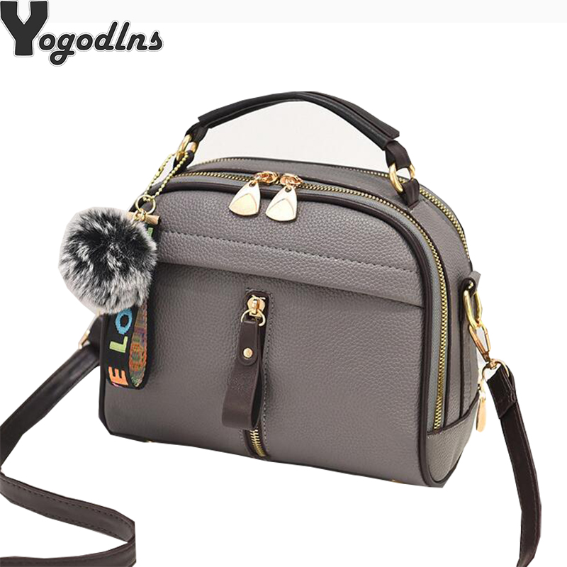 Crossbody-Bag Shell-Shape Fur-Ball Women Handbag Candy-Color Cute Full-Moon PU For