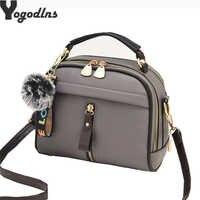 2019 Women Shoulder Bags Crossbody Bag For Women Handbag PU Leather Full Moon Candy Color Cute With Fur Ball shell shape bag